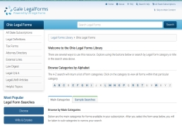 Gale Legal Forms landing page